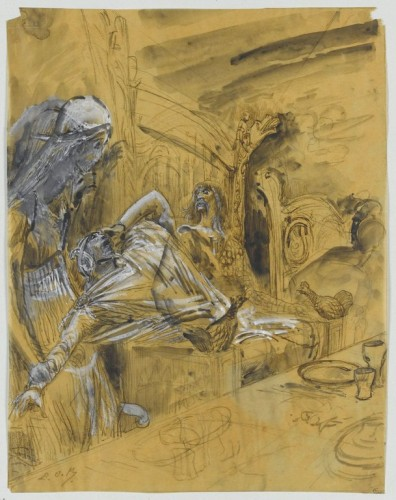 Luc-Olivier MERSON, 61 Projets d'illustrations pour le Macbeth de Shakespeare : apparition du spectre à Macbeth.  Louvre, Cabinet des dessins. Acquisition, 1980. RF 38662, Recto. ©RMN